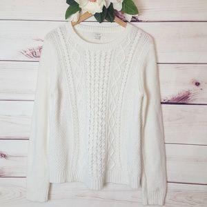 J. Crew | Cable Knit Sweater White/Cream